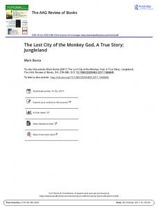 The Lost City of the Monkey God, A True Story