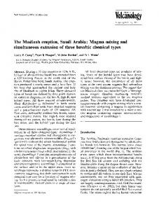 The Madinah eruption, Saudi Arabia: Magma mixing ... - Springer Link