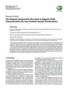 The Magnetic Nanoparticle Movement in Magnetic Fluid ...
