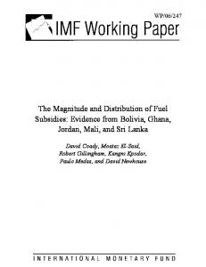 The Magnitude and Distribution of Fuel Subsidies: Evidence from ... - IMF