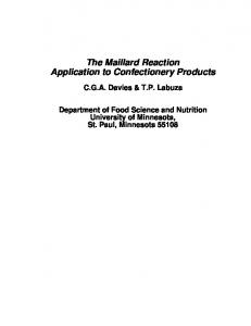 The Maillard Reaction Application to Confectionery Products - CiteSeerX