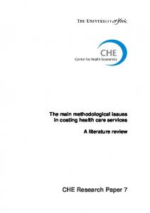 The main methodological issues in costing health care services