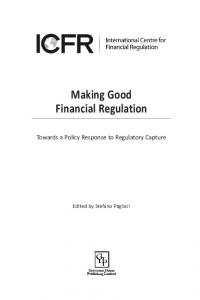 The Making of Good Financial Regulation - Stefano Pagliari