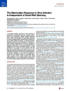 The Mammalian Response to Virus Infection Is Independent of Small ...