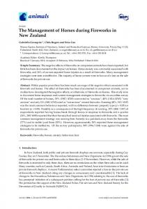 The Management of Horses during Fireworks in New Zealand - MDPI