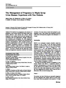 The Management of Pregnancy in Maple Syrup Urine Disease ...