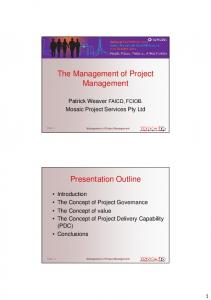 The Management of Project Management Presentation ... - Mosaic