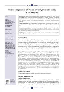 The management of stress urinary incontinence: A