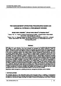 the management operating procedures based on surah al ... - ocerint