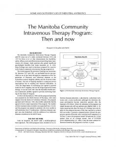 The Manitoba Community Intravenous Therapy Program - Hindawi
