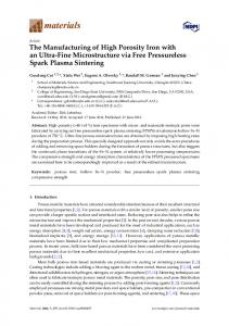 The Manufacturing of High Porosity Iron with an ... - Semantic Scholar