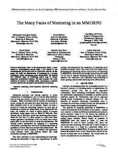 The Many Faces of Mentoring in an MMORPG - Semantic Scholar