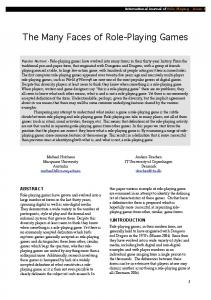 The Many Faces of Role-Playing Games - International Journal of ...