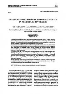 the margin of exposure to formaldehyde in alcoholic beverages
