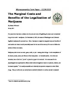 The Marginal Costs and Benefits of the Legalization of Marijuana