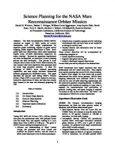 The Mars Reconnaissance Orbiter Mission Operations - NASA