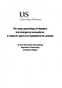 The mass psychology of disasters and emergency ... - CiteSeerX