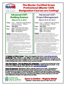 The Master Certified Green Professional (Master CGP) Designation ...
