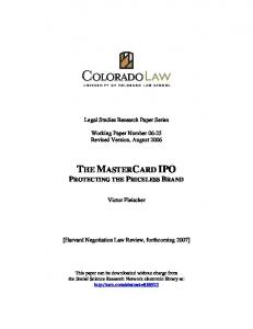 The MasterCard IPO - SSRN papers