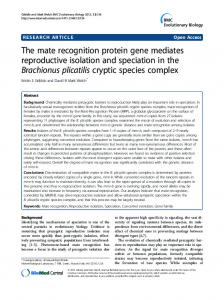 The mate recognition protein gene mediates ... - BioMedSearch