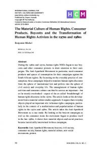 The Material Culture of Human Rights. Consumer