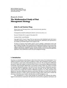 The Mathematical Study of Pest Management Strategy