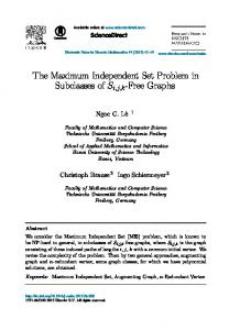 The Maximum Independent Set Problem in ... - Science Direct