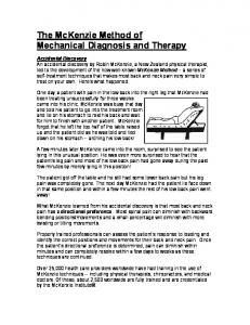 The McKenzie Method of Mechanical Diagnosis and Therapy