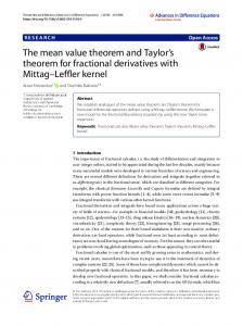 The mean value theorem and Taylor's theorem for fractional ... - Core