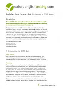 The Meaning of Oxford Online Placement Test Scores - Oxford English