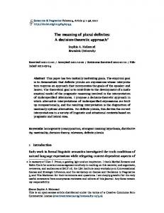 The meaning of plural definites: A decision-theoretic approach