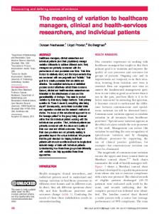 The meaning of variation to healthcare managers, clinical ... - CiteSeerX
