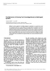 The Mechanism of Sharing Tacit Knowledge Based on Multi-Agent ...