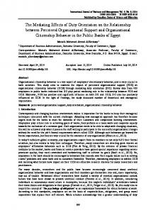 The Mediating Effects of Duty Orientation on the ... - CiteSeerX