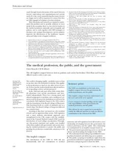 The medical profession, the public, and the government - The BMJ