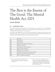 The Mental Health Act 2001 - Northumbria Journals