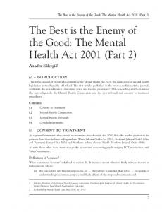 The Mental Health Act 2001 (Part 2) - Northumbria Journals