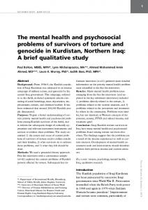 The mental health and psychosocial problems of survivors of torture