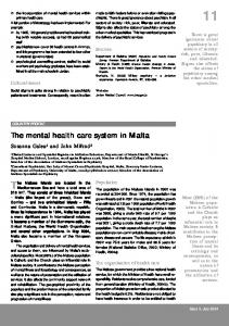 The mental health care system in Malta he mental health care system ...