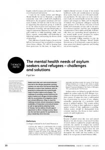 The mental health needs of asylum seekers and