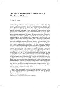 The Mental Health Needs of Military Service Members and Veterans