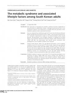 The metabolic syndrome and associated lifestyle ...