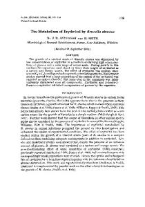 The Metabolism of Erythritol by Brucella abortus - Microbiology