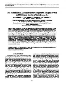 The Metabolomic Approach to the Comparative Analysis of Wild and ...