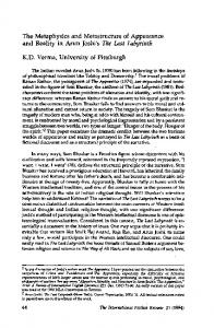 The Metaphysics and Metastructure of Appearance and Reality in ...