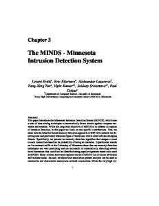 The MINDS - Minnesota Intrusion Detection System - CiteSeerX
