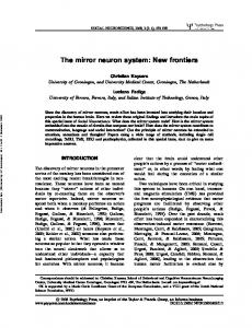 The mirror neuron system: New frontiers - CiteSeerX
