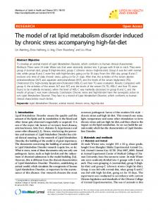 The model of rat lipid metabolism disorder induced by ... - BioMedSearch