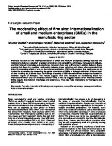 The moderating effect of firm size: Internationalization of small and ...