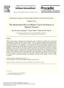 The Moderating Effect of Medical Travel Facilitators in Medical Tourism